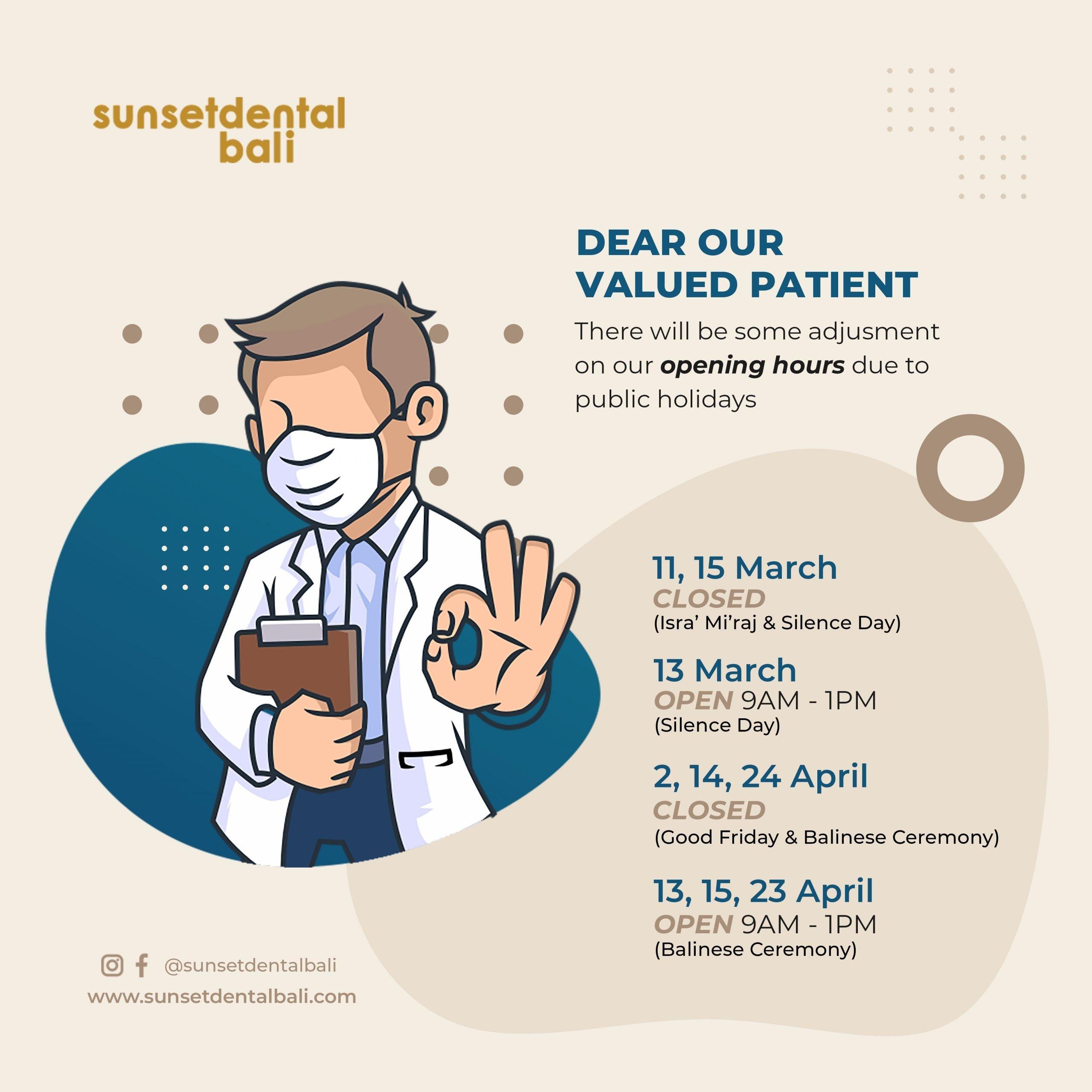Sunset Dental Bali operational announcement